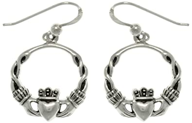 e51dd4e3b Image Unavailable. Image not available for. Color: Jewelry Trends Celtic  Claddagh Heart with Crown Sterling Silver Dangle Hoop Earrings