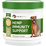 PointPet Advanced Hemp Immunity Support for Dogs,  With Organic Hemp Seed and Oil, Omega 3, 6, Improve Dog Health, Heart, Skin, Coat, Relieve Allergies, Reduce Inflammation and Pain, 90 Soft Chews