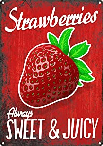 SmartCows Vintage Retro 8x12 Sign Strawberry Berries Funny Fruits Vegetables Food Sweet Summer Wall Decor Home Decor Novlety Tin Metal Sign 2