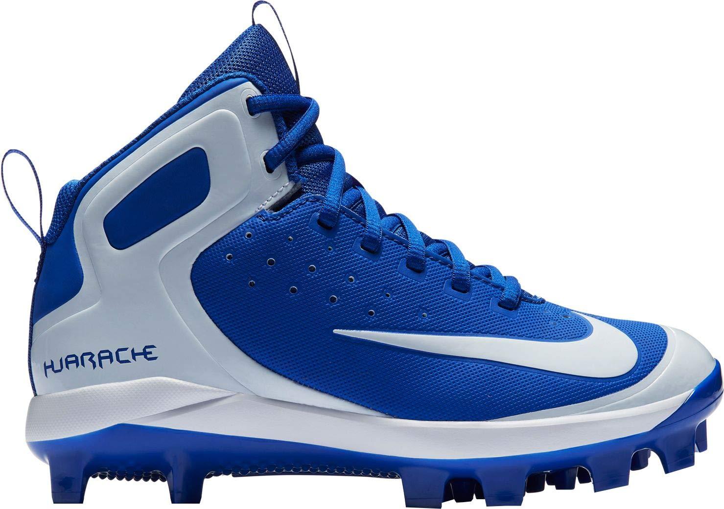 Nike Kids' Alpha Huarache Pro Mid Baseball Cleats (Blue/White, 5.5 M US) by Nike