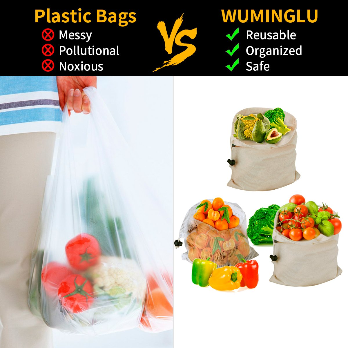 Reusable Produce Bags,WU-MINGLU Eco-Friendly Organic,Safe Freshness, 4 Sizes Muslin Cotton Drawstring & Premium Mesh Bag Set, Washable For Grocery Shopping,Storage and Vegetables(9Pack)