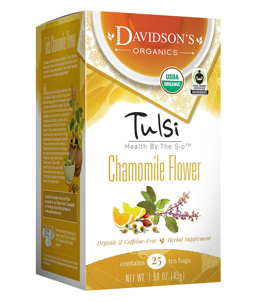 CDM product Davidson's Tea Tulsi Chamomile Flower, 25-Count Tea Bags (Pack of 6) big image