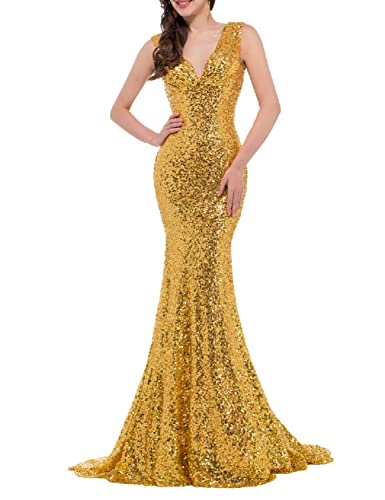 Favors Women's Sequins Evening Dress V Neck Mermaid Formal Party Gown Long PM37
