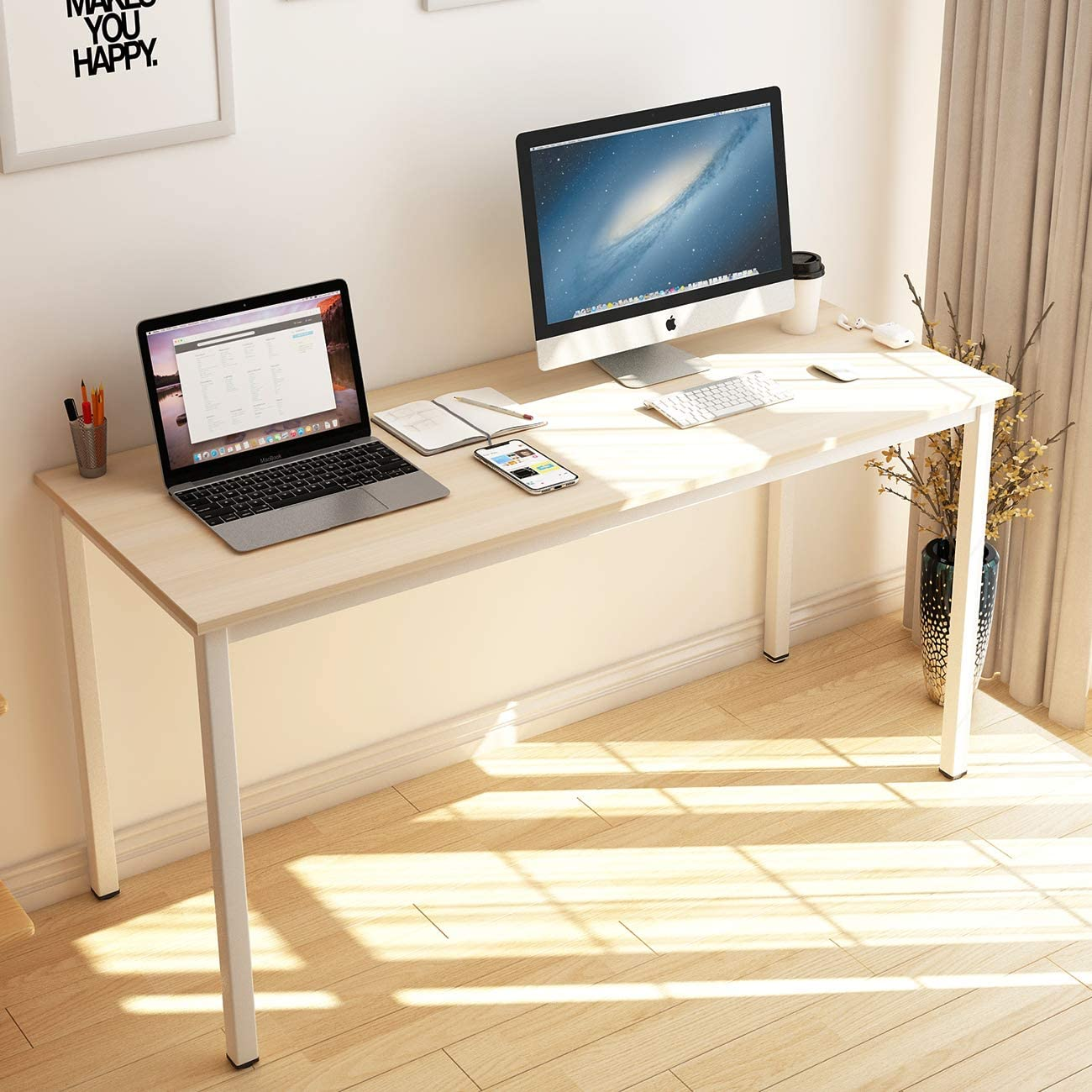 SogesHome Computer Desk 63 inches Large Desk Writing Desk with BIFMA Certification Workstation Office Desk, White Maple, NSDUS-GCP2AC3-160MO