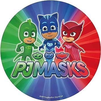 Dekora-236001 Decoracion Tartas de Cumpleaños Infantiles en Disco de Oblea de los Personajes de PJ Mask-20 cm de Diámetro, Multicolor (236001)