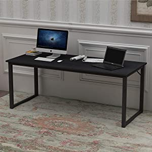 SogesPower 63 inches Computer Desk PC Laptop Office Desk Study Writing Modern Table Multipurpose Workstation for Home and Office Gaming Computer Desk, Black