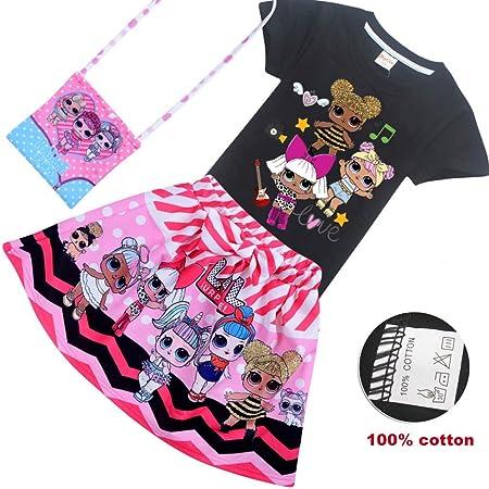 O&K Bebés LOL Sorpresa muñeca Linda del Arco de la Falda + Camiseta + Bolsa 3pcs Juego de Ropa,Negro,140cm: Amazon.es: Hogar