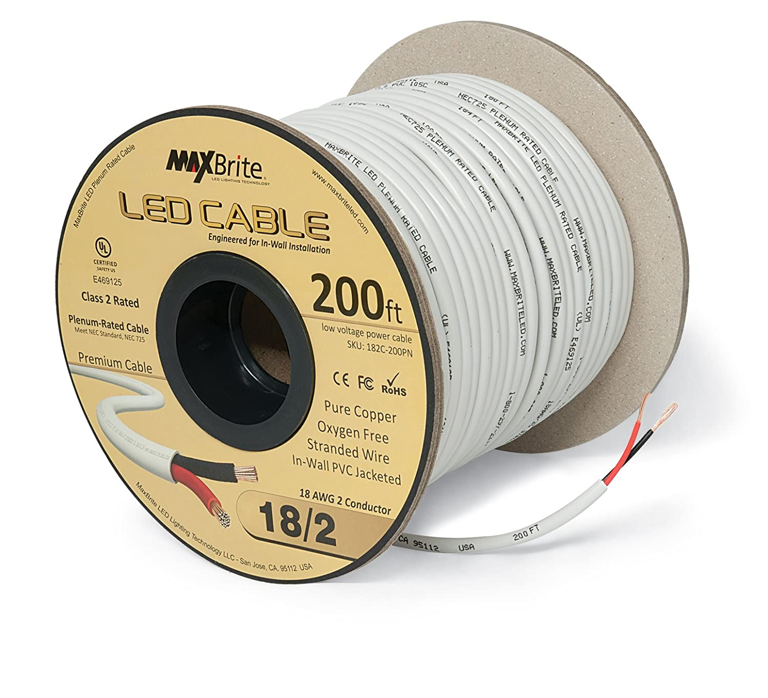 Amazon.com: 18AWG LED Cable/Speaker Wire 2 Conductor In-Wall Plenum Rated Jacketed, Low Voltage Wiring, UL Class 2 Certified - 200 ft spool: Home ...