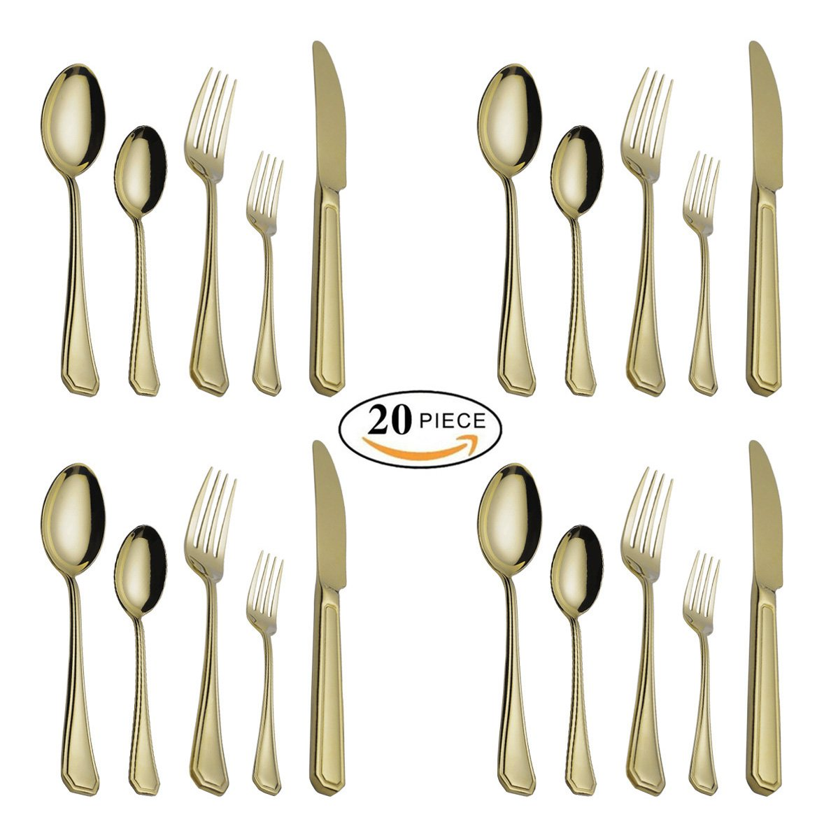 (Gold 4 Sets 20pcs) - 20-Piece Flatware Silverware Set Service for 4 People Stainless Steel Cutlery Include Dinner Knife Fork Spoon Dishwasher Safe (Mirror Finish Gold) B075624XQV Gold 4 Sets 20pcs Gold 4 Sets 20pcs