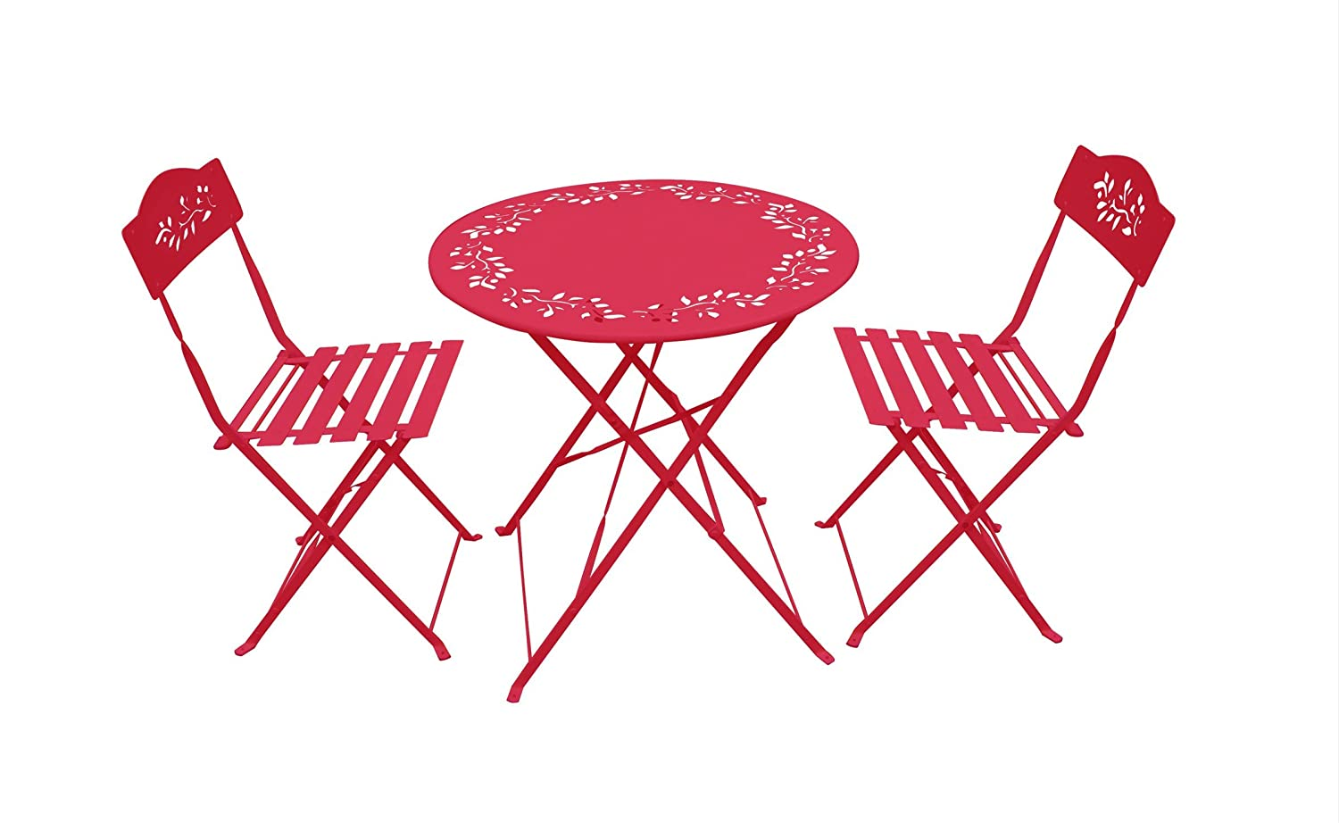 Amazon.com: Alpine MSY100A RD Metal Bistro Set With 2 Chairs, Red: Garden U0026  Outdoor