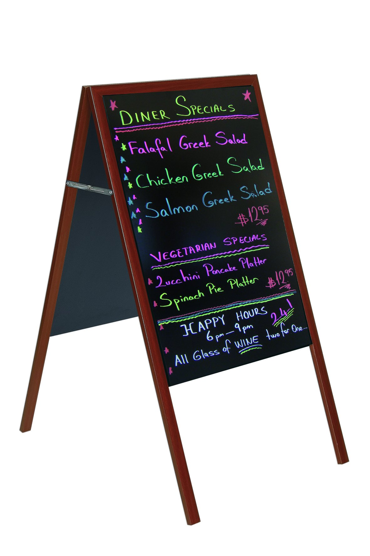 MasterVision Wet Erase Double Sided Sign Wood  Board, Magnetic 21'' x 33'', Black with Cherry Finish