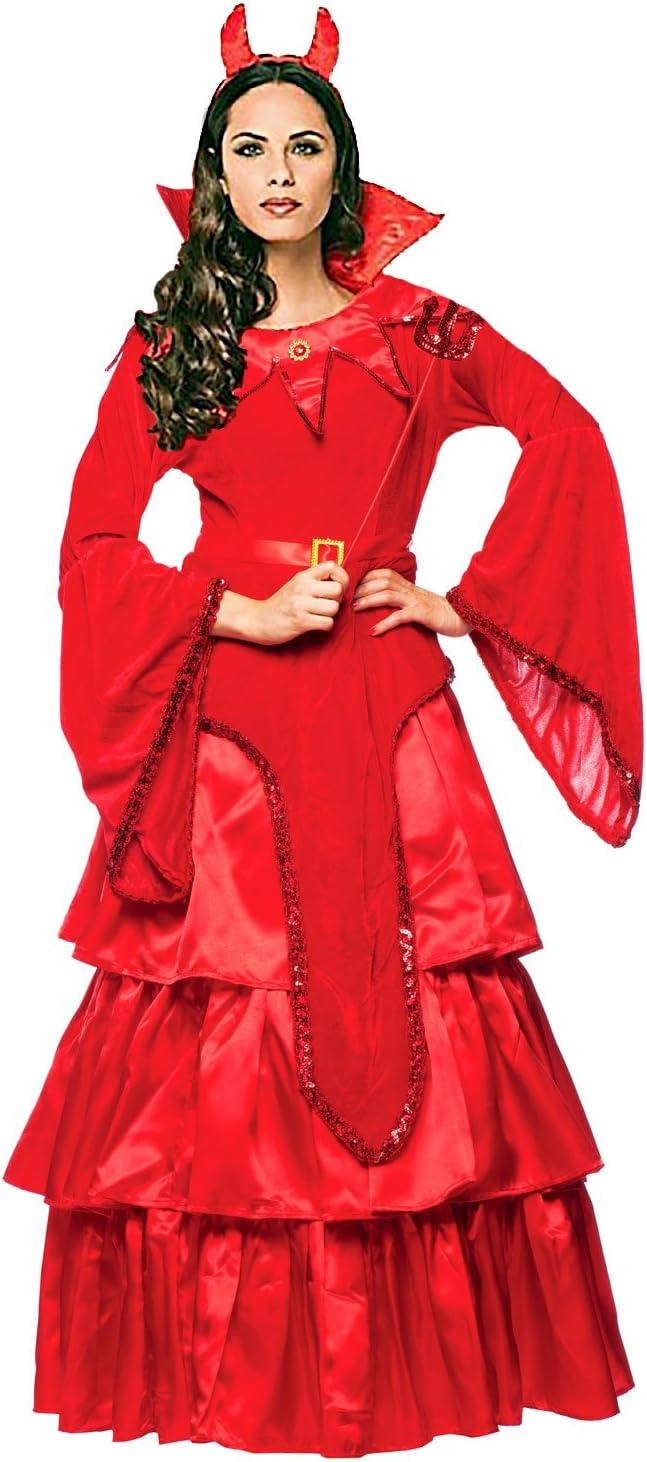 Disfraz de mujer Satán Novia Diablo Rojo Vestido Cuernos Diablo ...