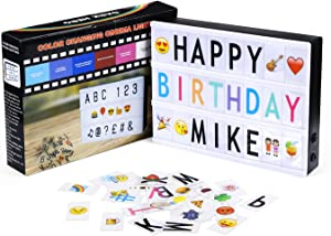 Powerextra DIY Light Box with Color Changing, Storage Box with 265 Black & Color Letters, Emojis and Numbers Free Message Combination for Home Decor or Business, A4 Size
