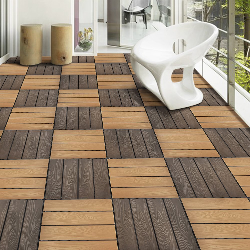Set Of 12 Interlocking Patio Flooring Tiles In Coffee, Indoor Outdoor Deck  And Patio Flooring Wood Plastic Material Composite Tile, 12 X 12 Inch