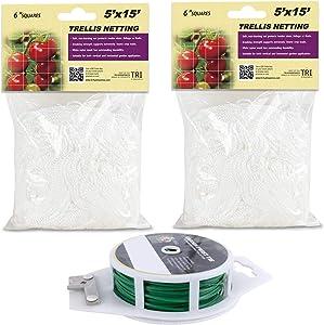 CastleGreens Trellis Netting, 5x15ft 2-Pack Trellis Net, Heavy-Duty Polyester Trellis Net Design for Climbing Fruits and Vegetables, Hydroponics Grow Net, Garden Twist Tie Included