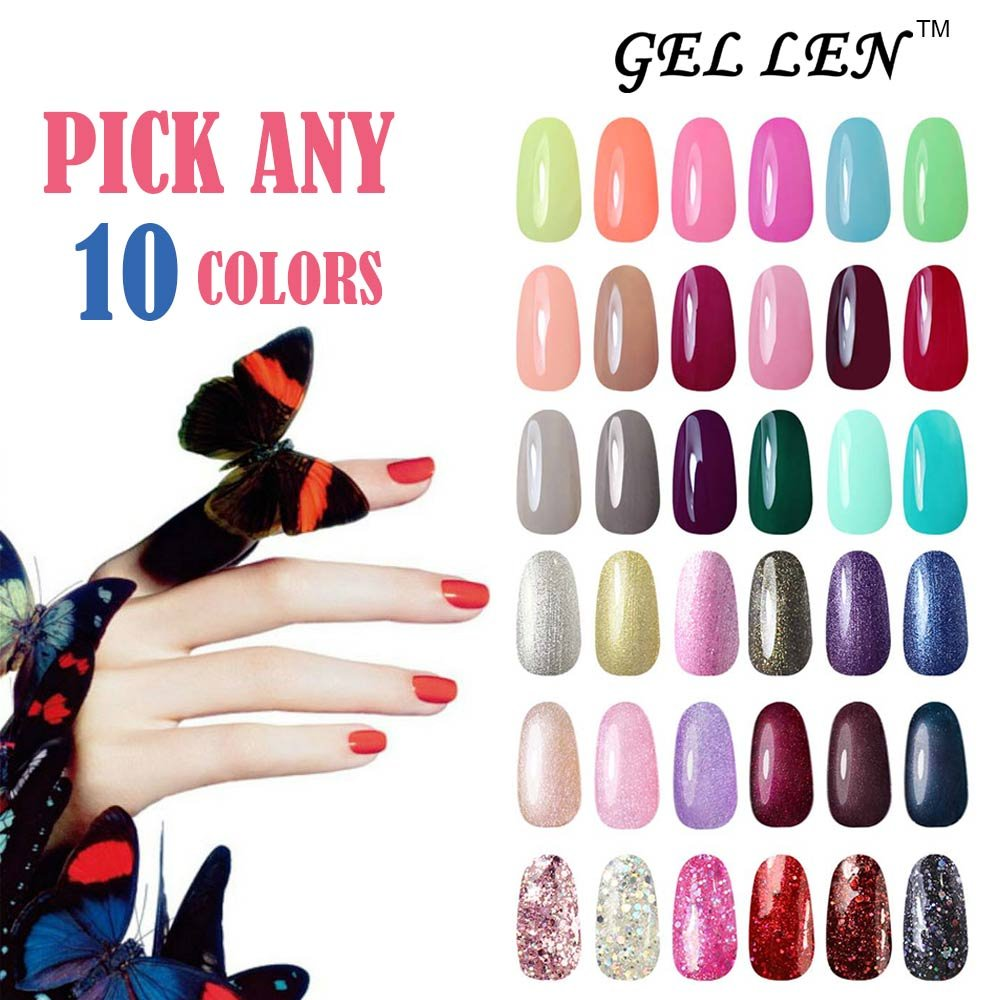 Gellen Pick Any 10 Colors UV Gel Nail Polish, Nail Art Home Salon Set