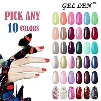 Gellen Pick Any 10 Colors UV Gel Nail Polish, Nail Art Home Salon Set