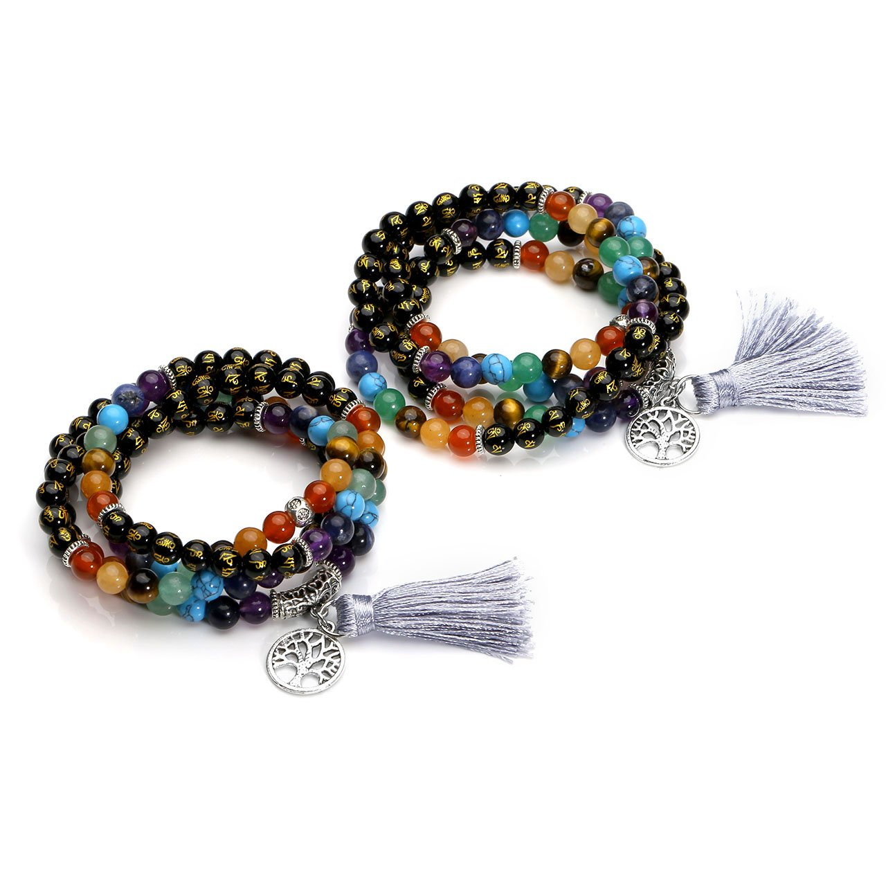 MANIFO 7 Chakra Buddhist Prayer Mala Beads Mantra Om Mani Padme Hum 108 Meditation Healing Multilayer Bracelet/Necklace Tree Life Pendant Tassel Charm
