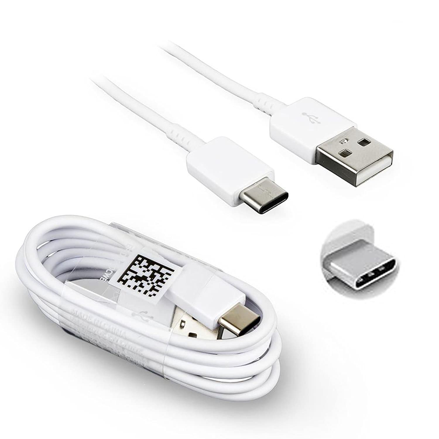 Samsung USB Type C Charge & Sync Data Cable For Galaxy S8, S8+, A3(2017),  A5(2017), A7(2017) A8 (2018) Galaxy C7 Pro, White Lead (ONLY) Type C USB -