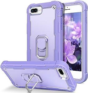 BENTOBEN iPhone 8 Plus Case, iPhone 7 Plus Case, iPhone 6S Plus Case, iPhone 6 Plus Case, Shockproof Hybrid Hard Bumper Soft Silicone Drop Protective Girls Women Boys Cute Phone Case, Purple/Lavender