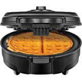 Chefman Anti-Overflow Belgian Waffle Maker w/Shade Selector & Mess Free Moat, Round Waffle Iron w/Nonstick Plates & Cool Touch Handle, Measuring Cup Included, Black