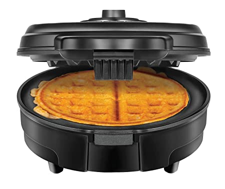 Chefman Anti-Overflow Belgian Waffle Maker w Shade Selector Mess Free Moat, Round Waffle Iron w Nonstick Plates Cool Touch Handle, Measuring Cup Included, Black