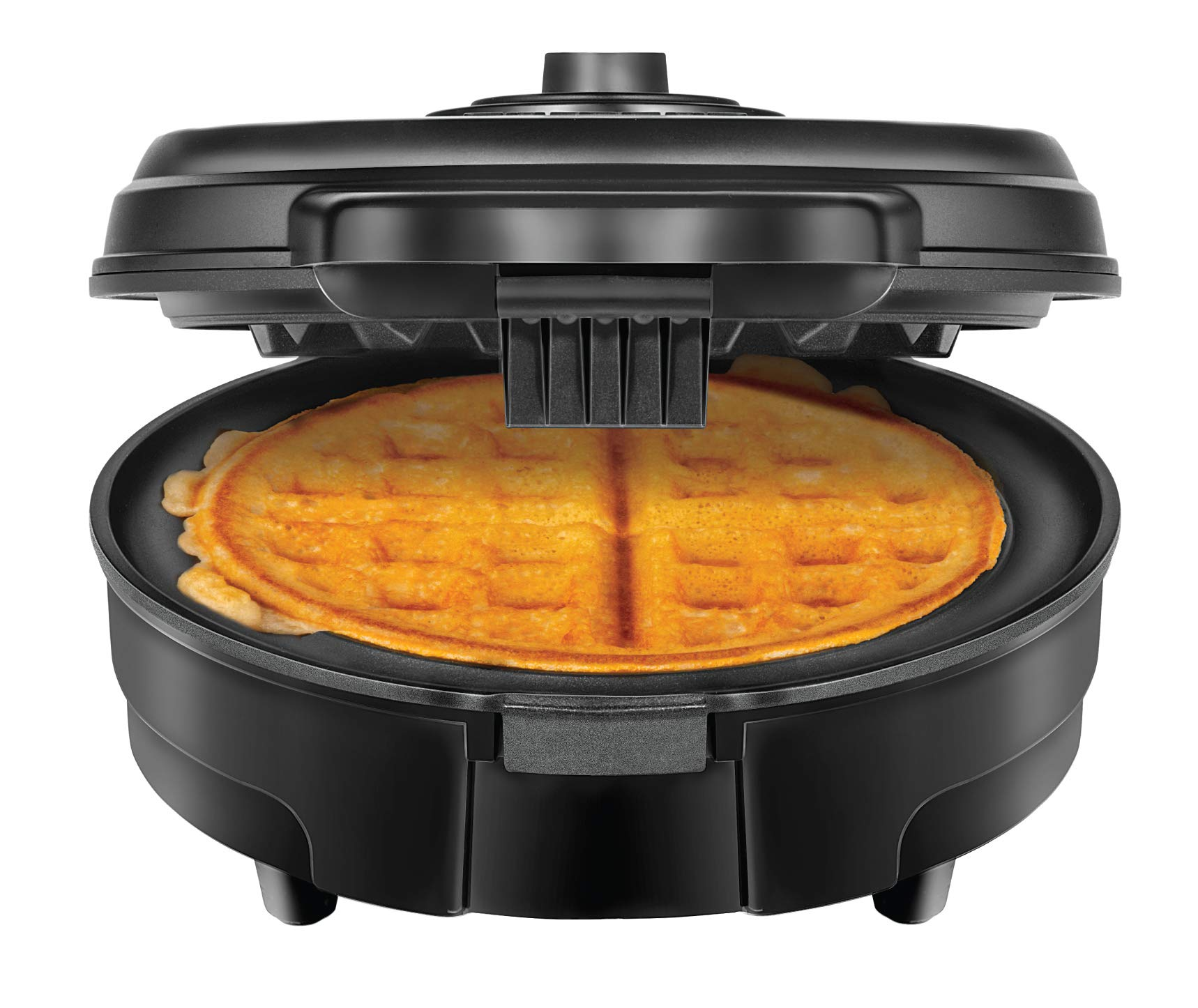Chefman Anti-Overflow Waffle Maker with Shade Selector, Round Belgian Waffle-Iron, No Mess, Cool Touch Handle, Nonstick Plates, Measuring Cup Included, Black