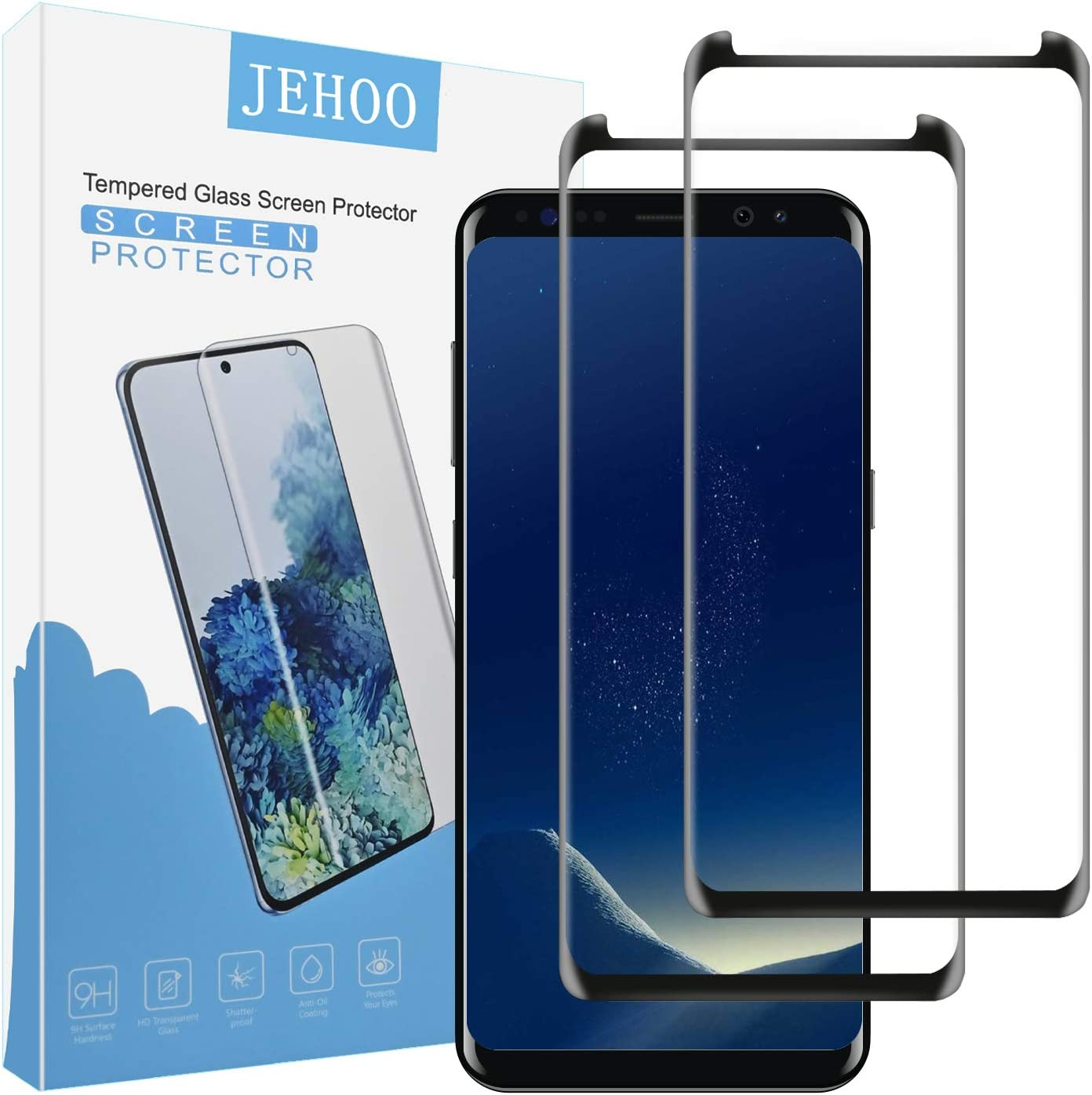 JEHOO [2 Pack] Galaxy S8 Screen Protector, [Bubble Free] [Anti-Scratch] [Case Friendly] [Ultra Clear] 9H Hardness Tempered Glass Screen Protector Film for Samsung Galaxy S8