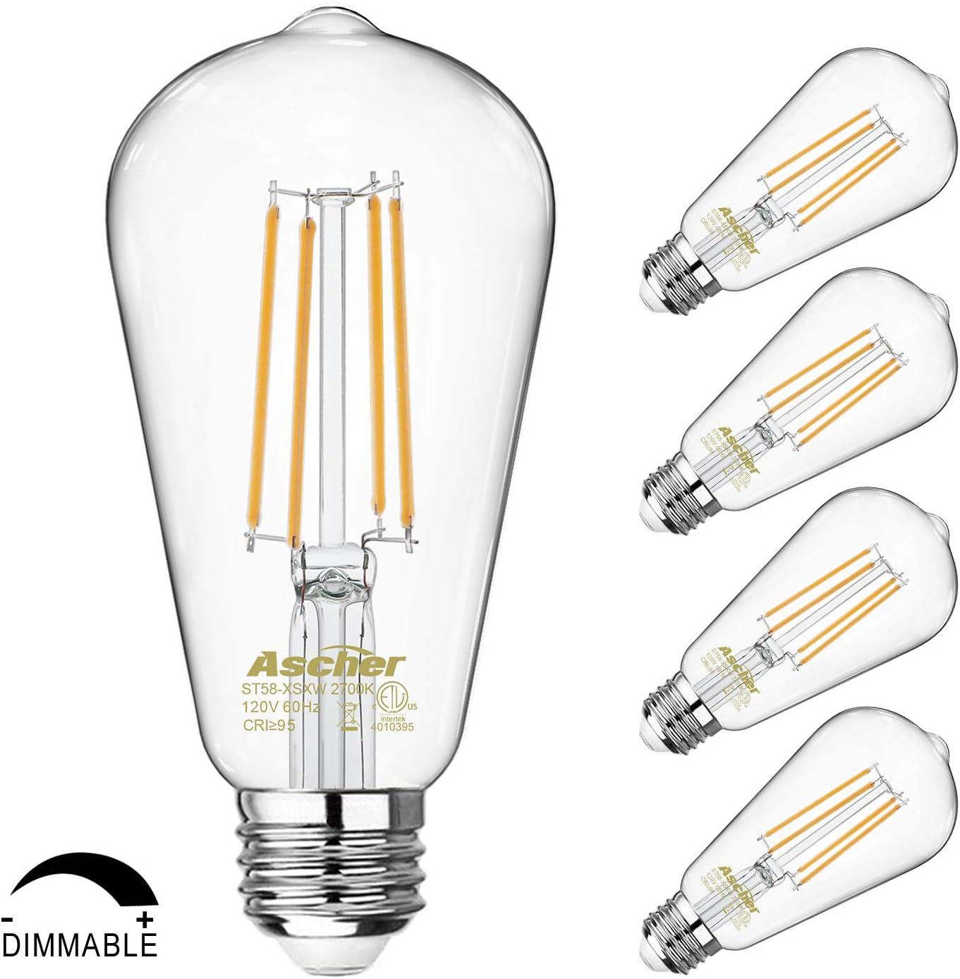 Dimmable Vintage LED Edison Bulbs 60 Watt Equivalent, Eye Protection Led Bulb with 95+ CRI, Warm White 2700K, ST58 Antique LED Filament Bulbs, E26 Medium Base, Pack of 4
