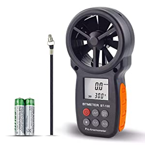 Digital Anemometer Handheld - BTMETER BT-100 Wind Speed Meter Gauge, Accurately Measure Wind Temperature Speed CFM with MAX/MIN/AVG, Backlight LCD for Shooting, HVAC, Drone Flying