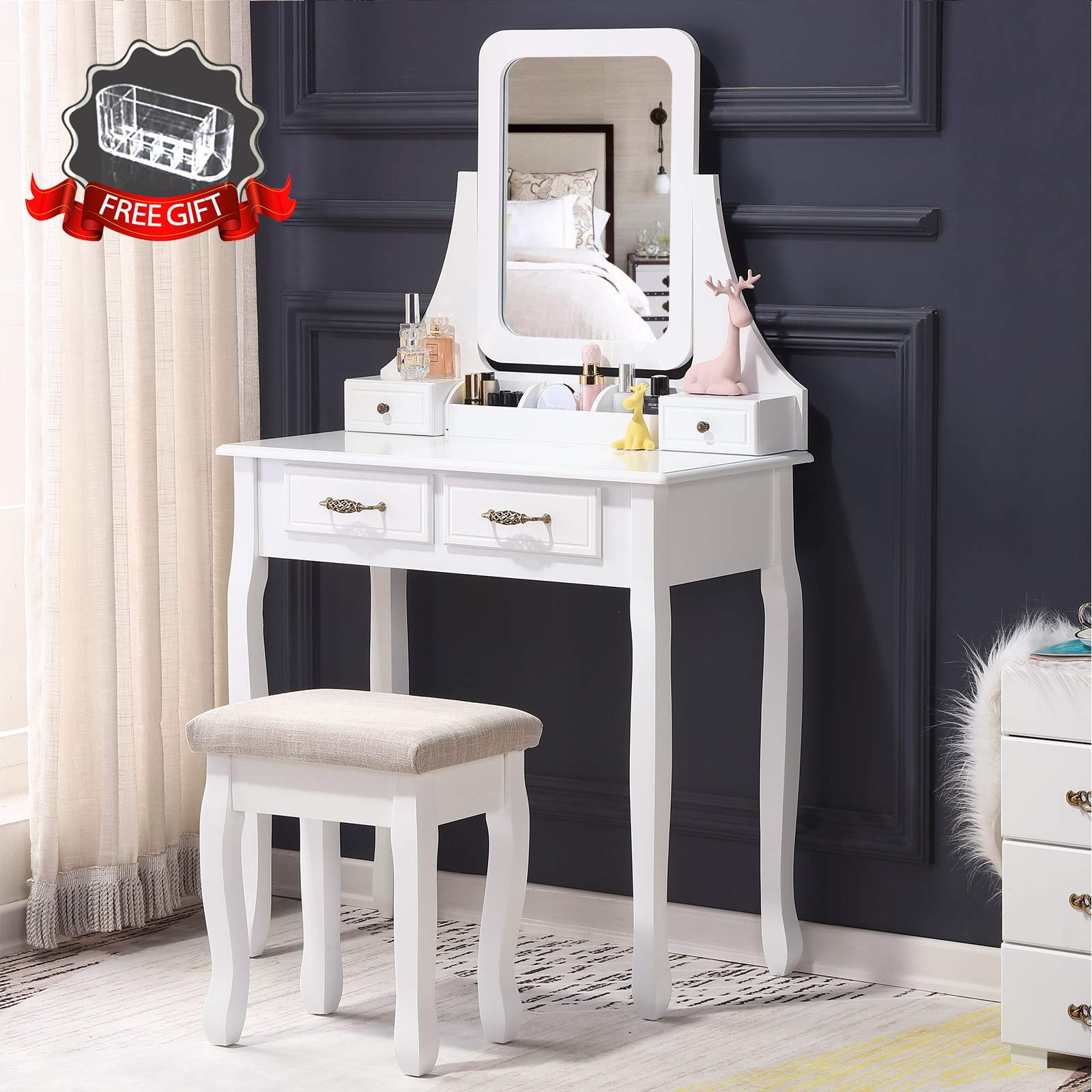 Unihome Vanity Table Vanity Set with Mirror&Cushioned Stool Antique Style Makeup Desk w/Bench Dressing Table 4 Drawers with Makeup Organizer (White)