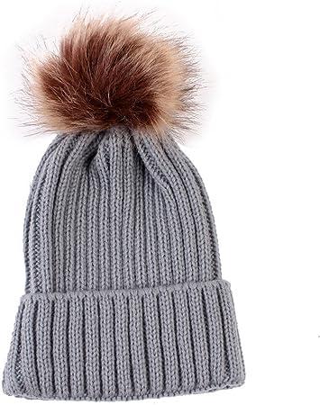 Toddler Kids Baby Boy Girl Hat Winter Warm Fur Pom Beanie Wool Hemming Hat Cap E