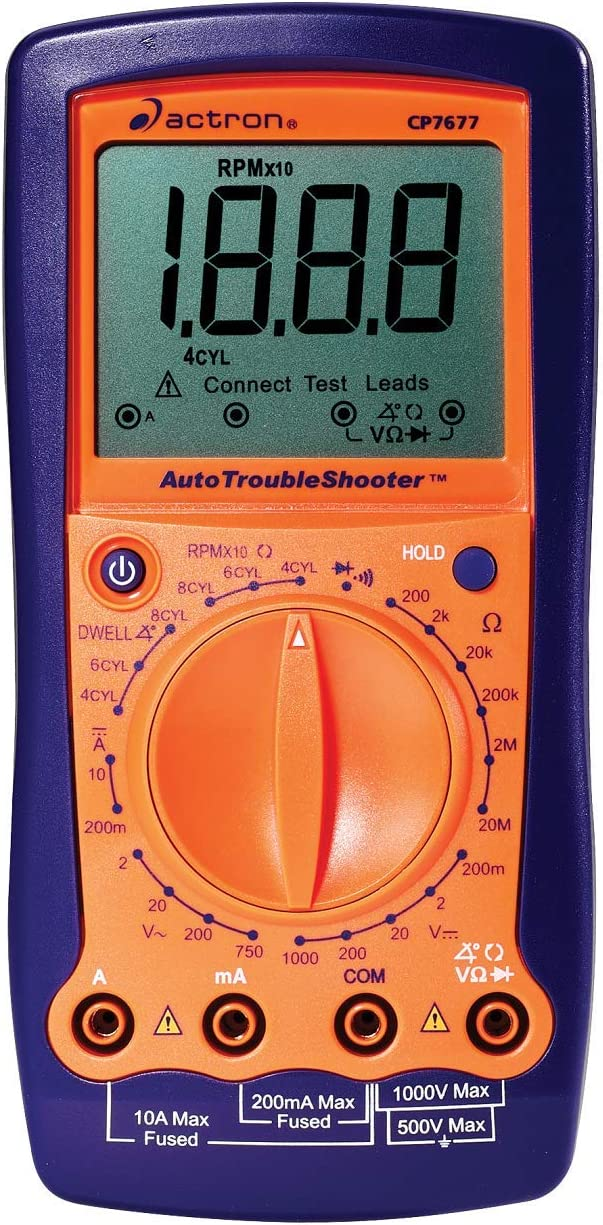 Actron CP7677 AutoTroubleShooter - Digital Multimeter and Engine Analyzer for Automotive Professionals, Orange