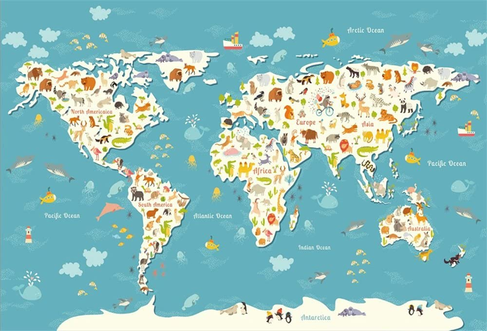 ALUONI 7x5ft Map,World Map with Graphic Dots Pixelated Seem Spotted Continents Party Backdrop Photography Background Baby Adult Abstract Banner Cake Table Decoration Photo Booth AM021840