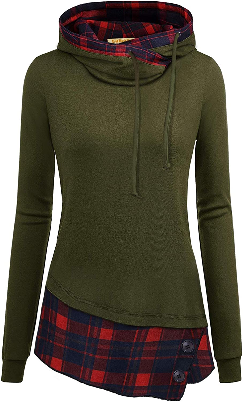 B07Y9XHR7N BAIKEA Womens Long Sleeve Plaid Patchwork Lightweight Sweatshirt Hoodies 719SGp2dBqL