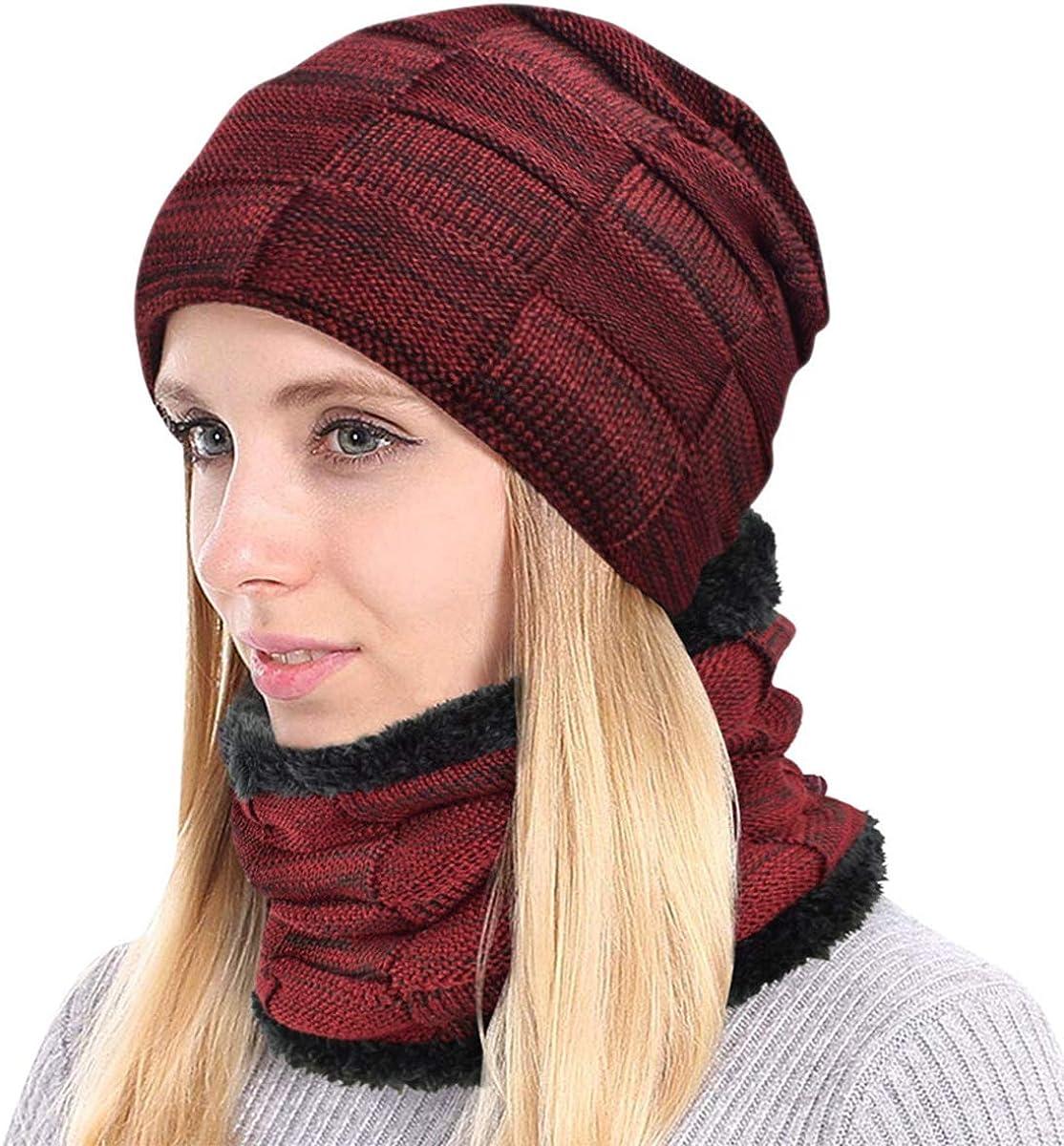 heekpek Winter Warm Hat Scarf Set Men Women Knitted Thick Slouchy Beanie Cap Fleece Lined Neck Warmer Windproof for Ski Moto Outdoor Activivities