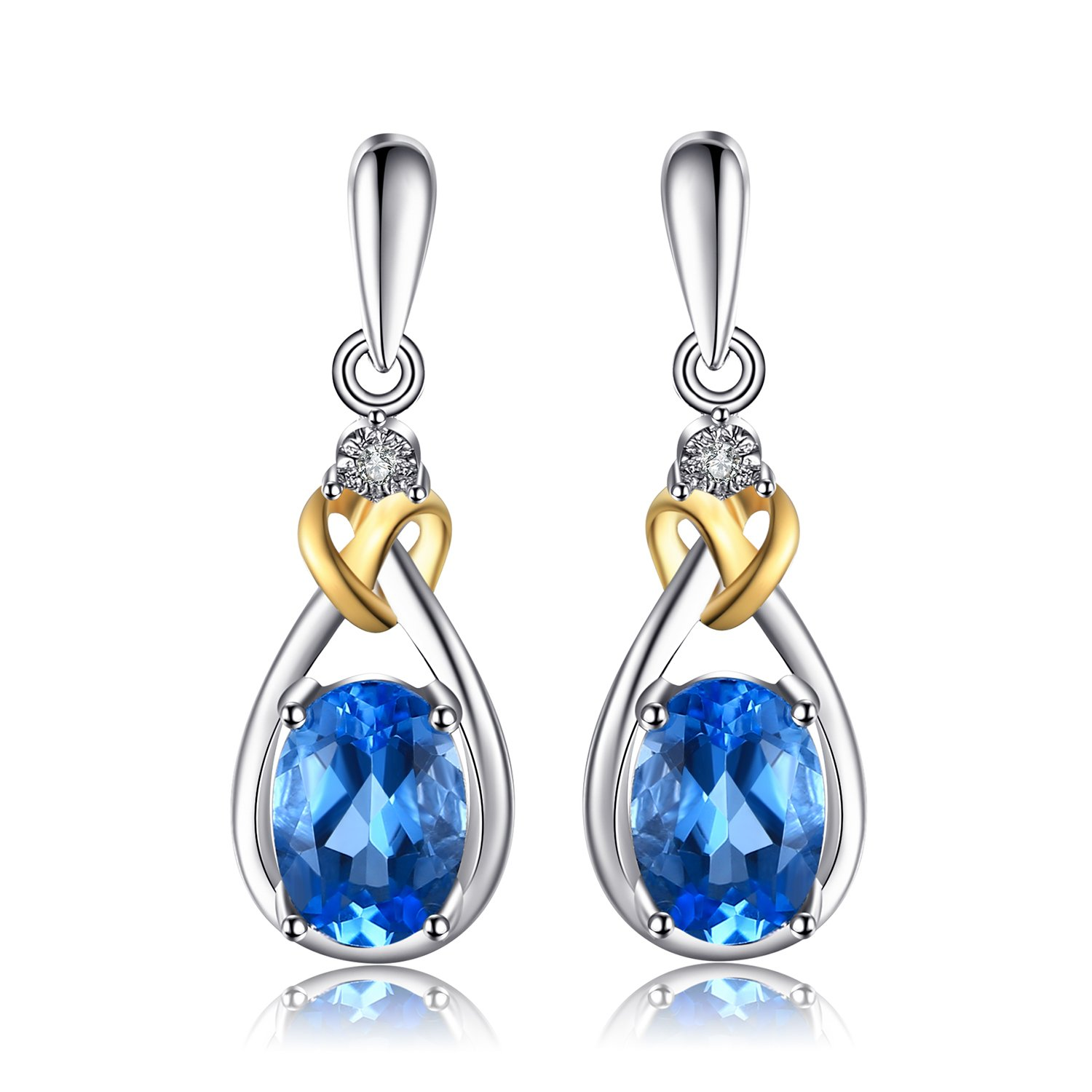JewelryPalace Love Knot 1.9ct Natural Swiss Blue Topaz Diamond Accented 925 Sterling Silver 18K Gold Dangle Earrings CA-AJE000135