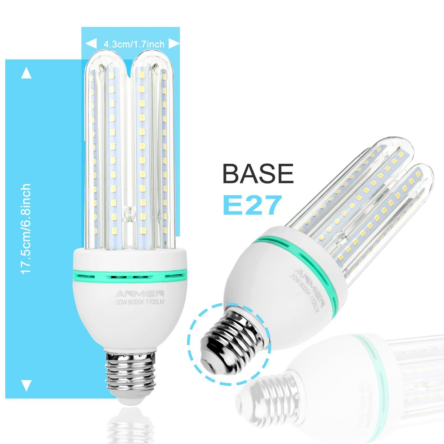 Light Bombillas LED E27 16 W(Equivale de 120 Vatios), Blanco Frio 6000K Iluminación LED, Ángulo de Haz 360°, LED Lámpara de 1600 Lumen, AC 85~265V - 4 Pack: ...