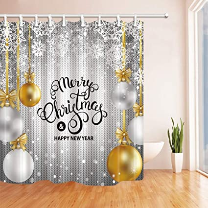 CdHBH Merry Christmas Shower Curtains In Bath Gold White Silver Balls With Snowflakes Knitted Wool
