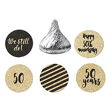 50th Wedding Anniversary Stickers U2013 Gold Glitter Circle Party Sticker  Labels  We Still Do,