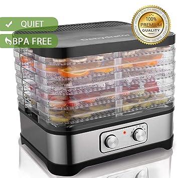 Hopekings Deshidratador Alimentos 5 Pisos, Deshidratadora de Frutas y Verduras 250W, Termostato ajustable 35-70 ° C, Negro: Amazon.es: Hogar