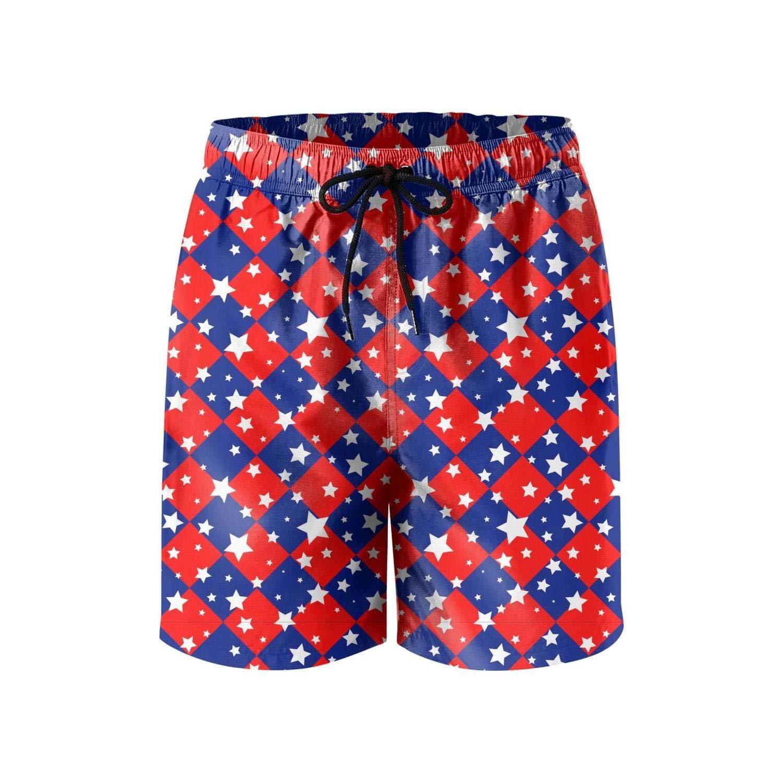 NEWRU Men 4th of July American Flag Stars Style Beach Shorts Casual Slim Fit Elastic Board Short
