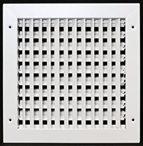 "12"" X 10"" Adjustable AIR Supply Diffuser - HVAC Vent Cover Sidewall or Ceiling - Grille Register - High Airflow - White [Outer Dimensions: 13.75""w X 11.75""h]"