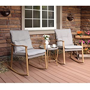 """COSIEST 3-Piece Outdoor Patio Furniture Faux Woodgrain Rocking Chairs Seat 18"""" H w Warm Gray Cushions and Round Glass-Top Table Bistro Set for Garden, Pool, Backyard"""