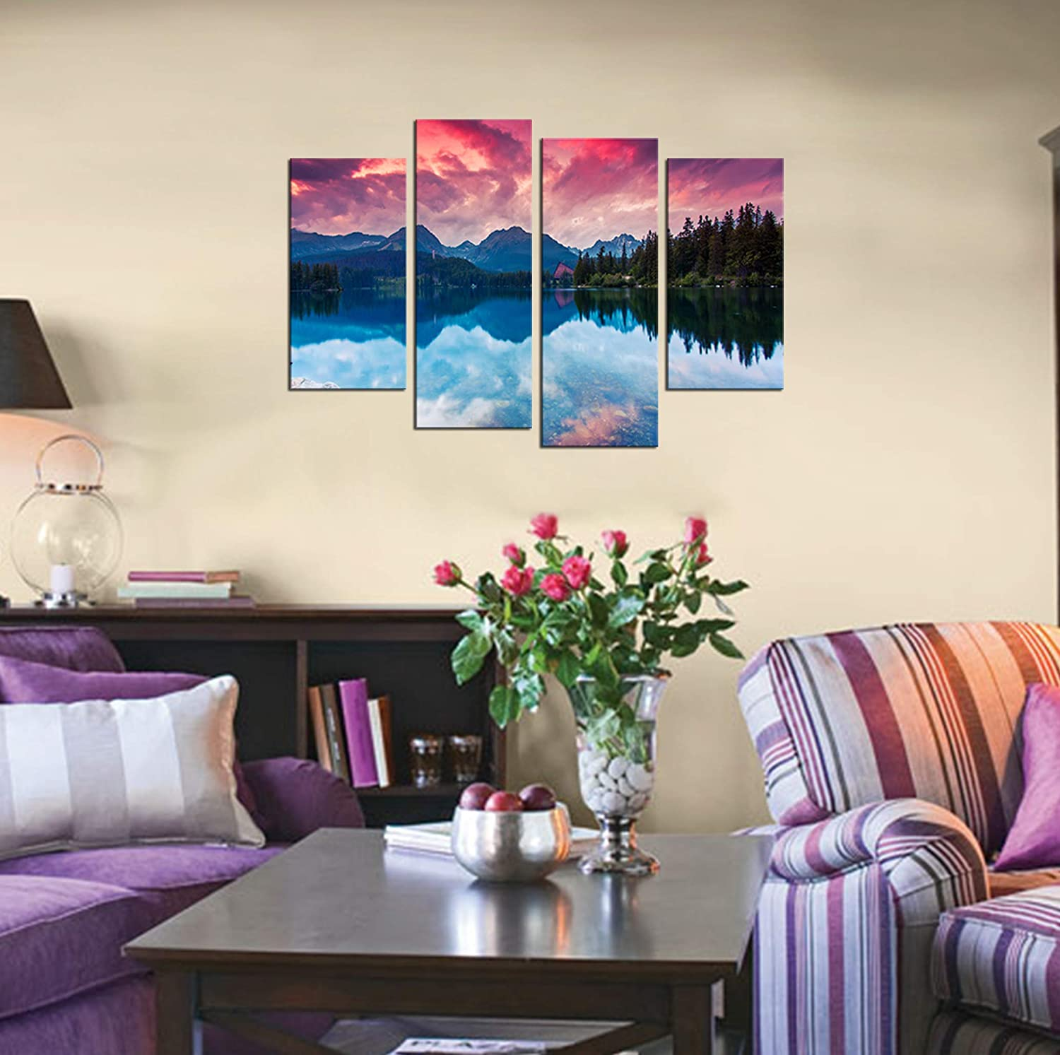 Natural art Modern Artwork Framed Canvas Printing 4 Panels Red Sky and Blue Lake Wall Art Paintings Set for Decor 12 x 24 inches-12 x 32 inches