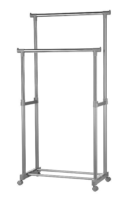 Premier Housewares 1900395 - Barra doble para ropa con ruedas, 80 x 43 x 152