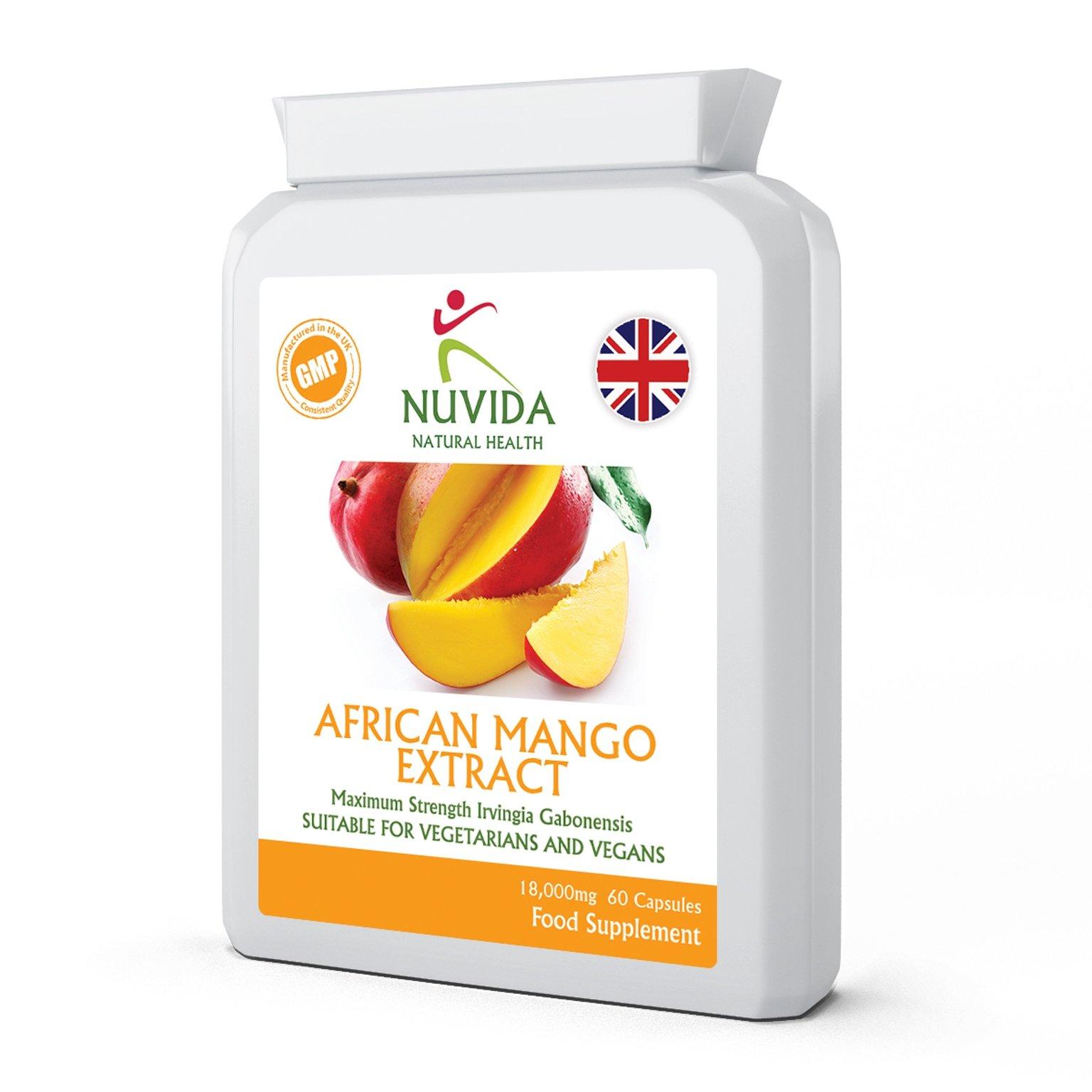 Pure African Mango Capsules / 60 High Strength 18,000mg African Mango Extract Capsules/High in Dietary Fibre/Vegan and Vegetarian Friendly
