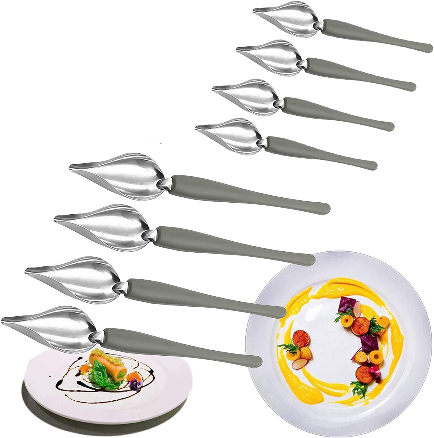 Chef Culinary Drawing Spoons Set, Stainless Steel Chef's Art Pencil for Food Decoration, Plating Decorating Pencil Spoon for Decorative Plates, Cake, Coffee 8pcs