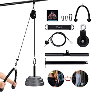 Fueti Pulley Tricep Cable Attachment, LAT and Lift Pulley System for Arm Strength Training Pulley Cable, tricep Rope,Non-Slip Straight Bar, Gym Pulley, Home Gym Pulley Equipment (Black)