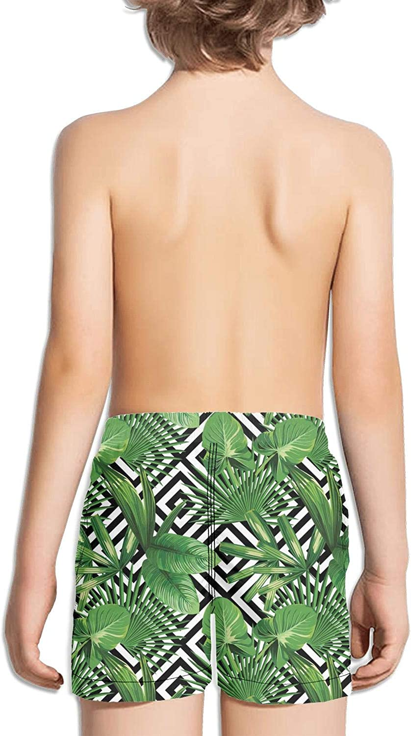 Palm Sunday Palm Tree Geometric Pattern Green Childrens Beach Pants Board Shorts Outdoor Light and Comfortable Floral Shorts